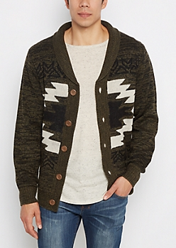 Olive Aztec Marled Rolled Collar Cardigan