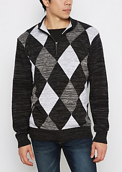 Black Argyle Zip Mock Neck Sweater