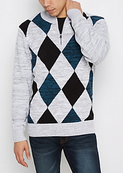 Gray Argyle Zip Mock Neck Sweater