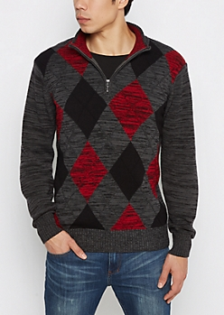 Charcoal Argyle Zip Mock Neck Sweater