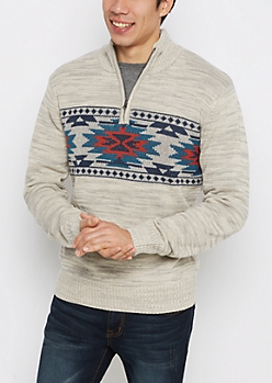 Oatmeal Aztec Zip Mock Neck Sweater