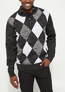 Black Argyle Zip Sweater