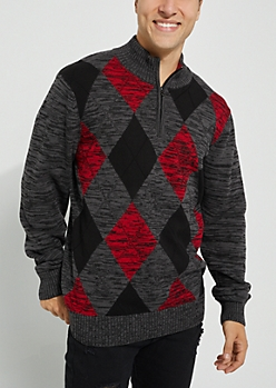 Argyle Solid Sweater