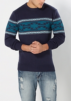 Teal & Navy Aztec Blocked Sweater