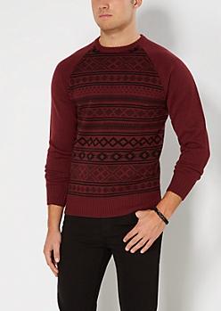 Burgundy Aztec Baseball Sweater