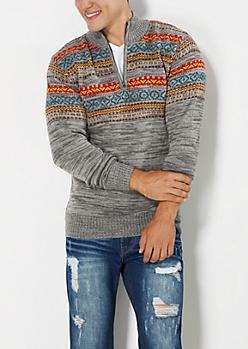 Gray Fair Isle Half-Zip Sweater