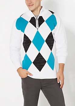 White Argyle Quarter Zip Mock Pullover
