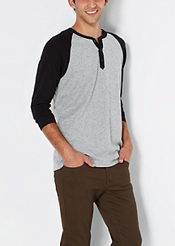 Black Speckled Baseball Henley