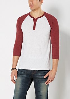 Burgundy Speckled Baseball Henley