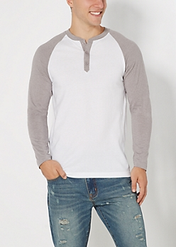 White & Gray Baseball Henley