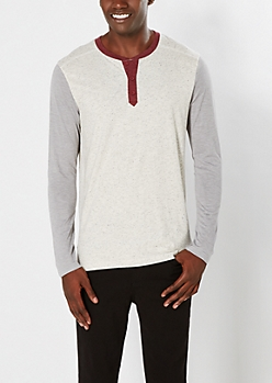 Oatmeal Heather Color Block Henley Top
