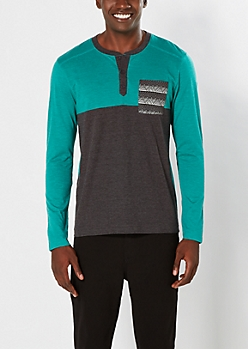 Light Green Color Block Tribal Pocket Henley Top