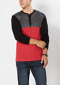 Red Static Henley Top