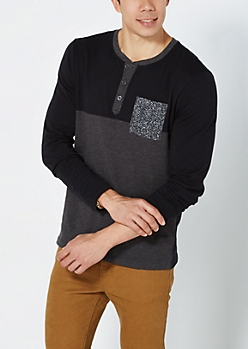 Black & Charcoal Static Pocket Henley
