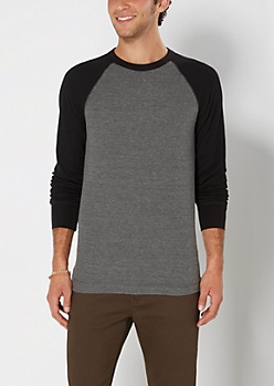 Charcoal Gray Thermal Baseball Top