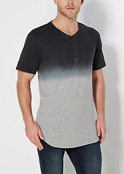 Charcoal Dip Dye Speckled Long Length Henley Tee