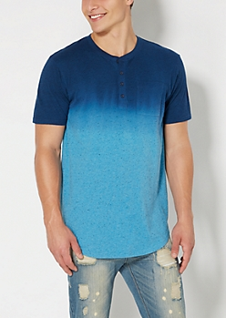 Blue Dip Dye Speckled Long Length Henley Tee