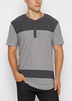 Gray Color Block Long Length Henley Tee