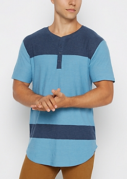 Blue Color Block Long Length Henley Tee
