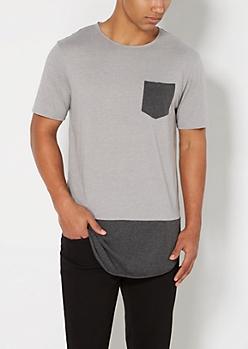Gray Blocked Long Length Raw Edge Tee