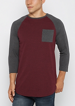 Burgundy Marled Baseball Long Length Top