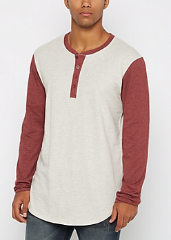 Heathered Color Block Long Length Henley Top