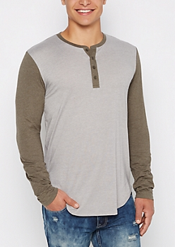 Olive Block Long Length Henley Top