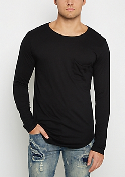 Black Long Length Pocket Top
