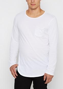 White Long Length Pocket Shirt