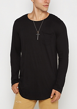 Black Long Length Pocket Shirt