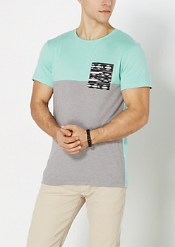 Mint Aztec Pocket Two-Tone Tee