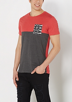 Red Aztec Pocket Two-Tone Tee