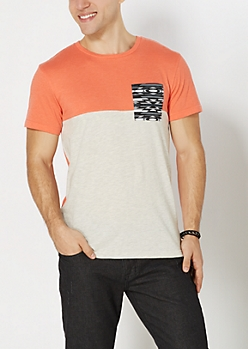 Coral Aztec Pocket Two-Tone Tee