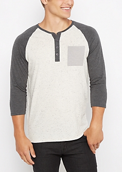 Charcoal Marled Baseball Henley Top