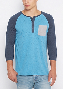 Blue Marled Baseball Henley Top