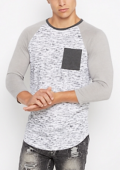 White Marled Streak Baseball Long Length Top