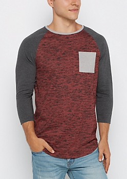 Burgundy Marled Streak Baseball Long Length Top