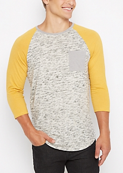 Mustard Marled Streak Baseball Long Length Top