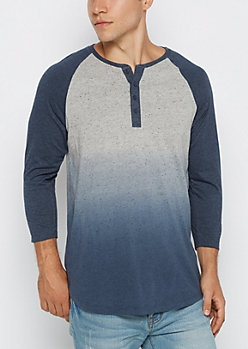 Blue Marled Dip Dye Long Length Henley Baseball Top