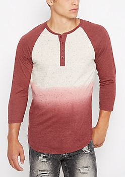 Burgundy Marled Dip Dye Long Length Henley Baseball Top