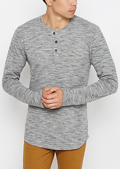 Gray Space Dye Longline Thermal Henley