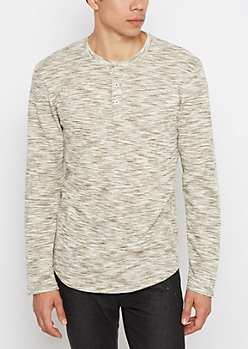 Olive Space Dye Longline Thermal Henley
