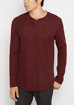 Burgundy Space Dye Longline Thermal Henley