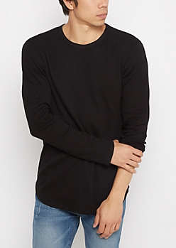 Black Thermal Long Length Shirt