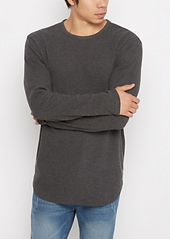 Charcoal Heather Thermal Long Length Shirt