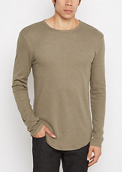 Olive Heathered Thermal Long Length Shirt