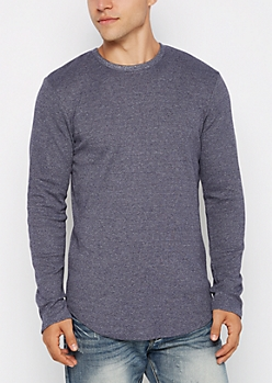 Navy Heathered Thermal Long Length Shirt