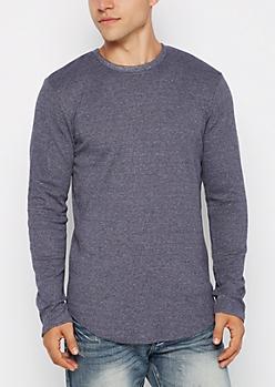 Navy Heathered Thermal Long Length Shirt