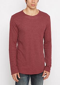 Burgundy Heathered Thermal Long Length Shirt