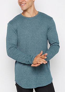 Teal Heathered Thermal Long Length Shirt